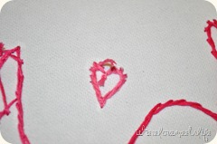 Heart stitching on embroider canvas